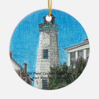 古いポイント心地よいの灯台 セラミックオーナメント