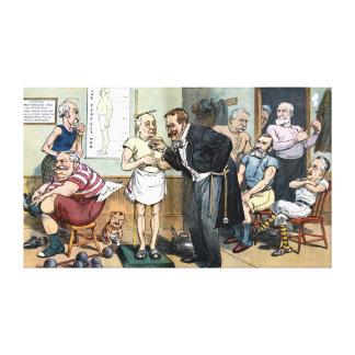 古いルーズベルト先生の1907年のヴィンテージの漫画 キャンバスプリント