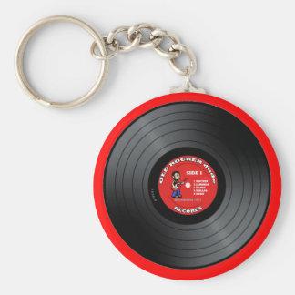 古いロッカーの男のレコードKeychain キーホルダー