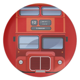 古いロンドンの赤い二重デッカーバス プレート