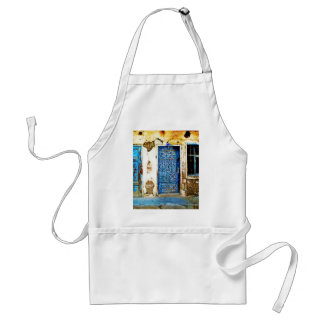 古いヴィンテージのギリシャの青いドアのBohoのスタイル スタンダードエプロン