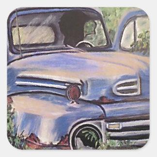 古いヴィンテージのトラックの芸術 スクエアシール