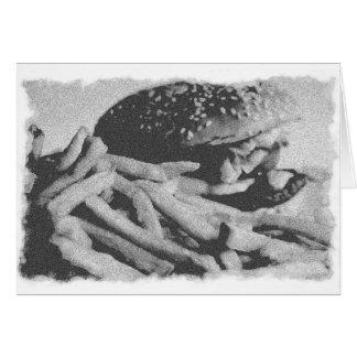 古いヴィンテージのハンバーガーの写真カード グリーティングカード