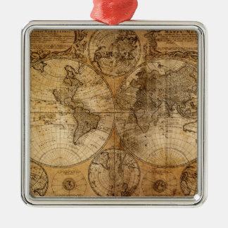 古いヴィンテージの世界地図 メタルオーナメント