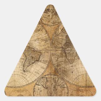 古いヴィンテージの世界地図 三角形シール