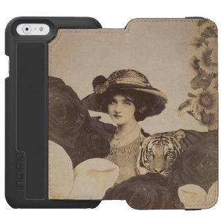 古いヴィンテージの女性のトラのバラ INCIPIO WATSON™ iPhone 6 ウォレットケース