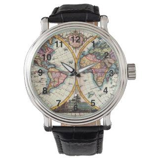 古いヴィンテージの旧式な世界地図のイラストレーションのスケッチ 腕時計