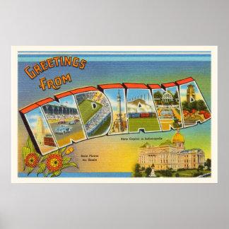 古いヴィンテージ旅行記念品のインディアナ州 ポスター