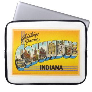 古いヴィンテージ旅行記念品のコロンブスインディアナ ラップトップスリーブ
