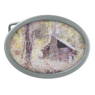 古い丸太小屋の交差ステッチ 卵形バックル