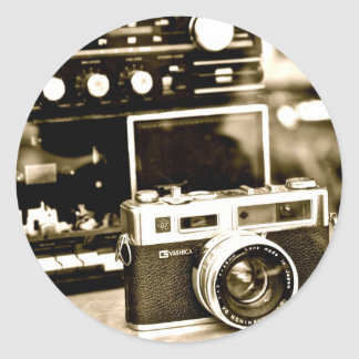 古い写真のカメラ ラウンドシール
