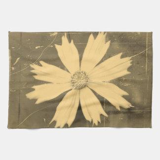 古い写真の黄色の宇宙の花のクローズアップ2 キッチンタオル