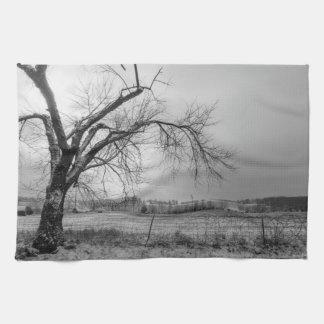 古い冬の木のグレースケール キッチンタオル