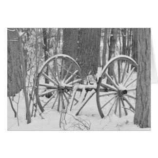 古い冬の荷馬車の車輪 カード