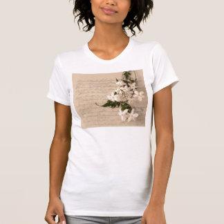 古い原稿のスコップの首のTシャツのジャスミン Tシャツ