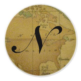 古い地図のモノグラムの引出しの引き セラミックノブ