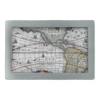 古い地図アメリカ大陸 長方形ベルトバックル