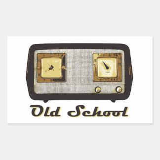 古い学校のラジオのレトロのヴィンテージ 長方形シール