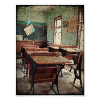古い学校、眺めの中の1部屋の学校 フォトプリント