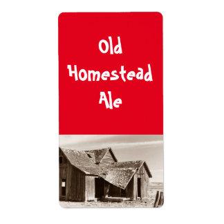 古い家屋敷のエールのセピア色の家の醸造ビールラベル 発送ラベル