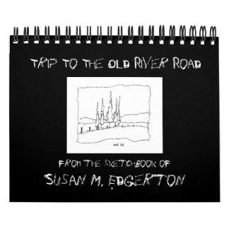 古い川の道のカレンダーへの旅行 カレンダー