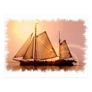 古い帆船の郵便はがき ポストカード