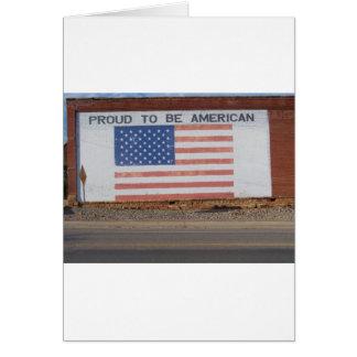 古い建物で絵を描かれる米国旗 カード