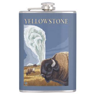 古い忠実のYellowstoneBison フラスク