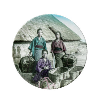 古い日本ヴィンテージの日本語の漁村 磁器プレート