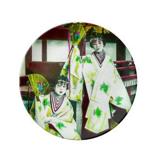 古い日本ヴィンテージの日本語の踊りの芸者 磁器プレート