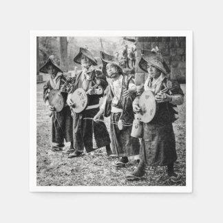 古い日本ヴィンテージ音楽のミュージシャンのメリーなバンド スタンダードカクテルナプキン