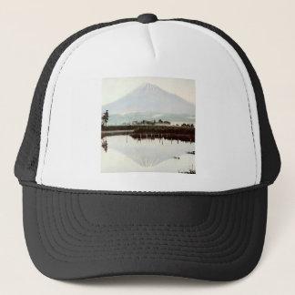 古い日本vintage湖の富士山の反射 キャップ