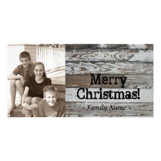 古い木製の写真のクリスマスカード カード