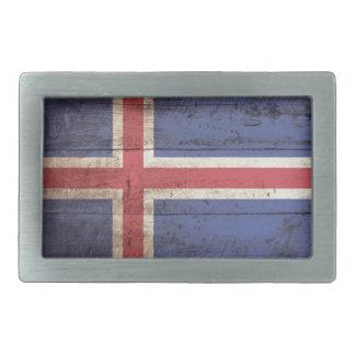 古い木製の穀物のアイスランドの旗 長方形ベルトバックル