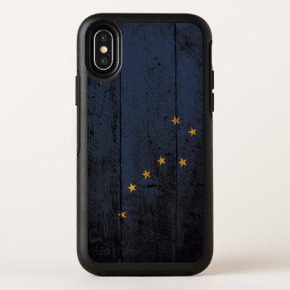 古い木製の穀物のアラスカの州の旗 オッターボックスシンメトリー iPhone X ケース