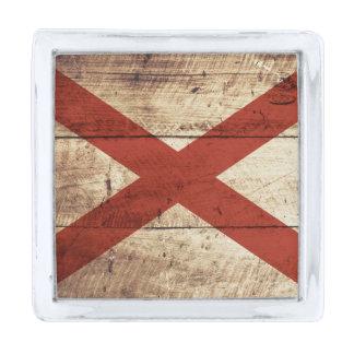 古い木製の穀物のアラバマの州の旗 シルバー ラペルピン