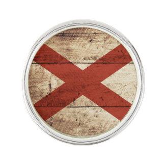 古い木製の穀物のアラバマの州の旗 ラペルブローチ