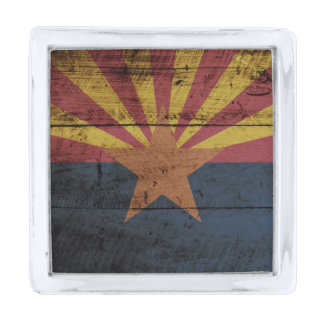 古い木製の穀物のアリゾナの州の旗 シルバー ラペルピン