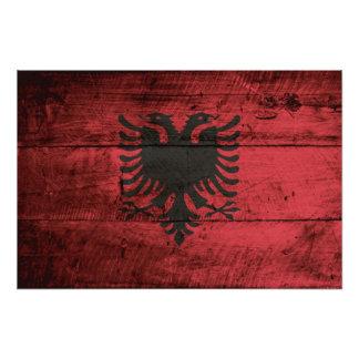 古い木製の穀物のアルバニアの旗 フォトプリント