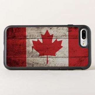 古い木製の穀物のカナダの旗 オッターボックスシンメトリーiPhone 8 PLUS/7 PLUSケース