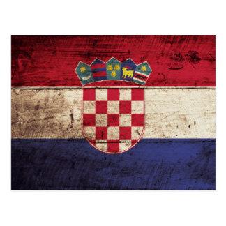 古い木製の穀物のクロアチアの旗 ポストカード