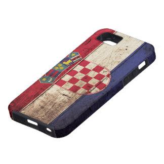 古い木製の穀物のクロアチアの旗 iPhone SE/5/5s ケース