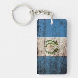古い木製の穀物のグアテマラの旗 キーホルダー