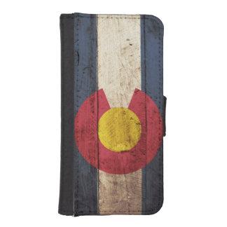 古い木製の穀物のコロラド州の州の旗 iPhoneSE/5/5sウォレットケース