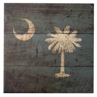 古い木製の穀物のサウスカロライナの州の旗 タイル