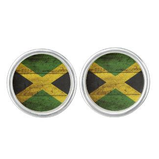 古い木製の穀物のジャマイカの旗 カフスボタン