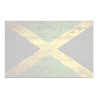 古い木製の穀物のジャマイカの旗 便箋