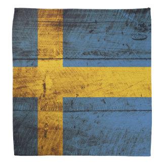 古い木製の穀物のスウェーデンの旗 バンダナ