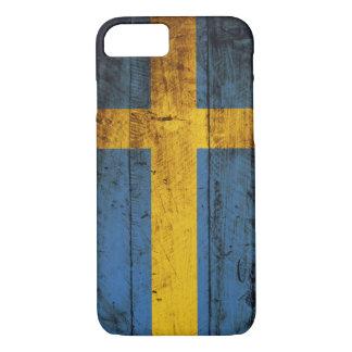 古い木製の穀物のスウェーデンの旗 iPhone 8/7ケース