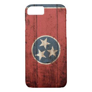 古い木製の穀物のテネシー州の州の旗 iPhone 8/7ケース